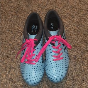 Brand new Umbro blue & pink cleats